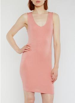 Sleeveless Lace Up Back Mini Dress - MAUVE - 3410069392917