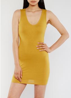 Sleeveless Lace Up Back Mini Dress - MUSTARD - 3410069392917