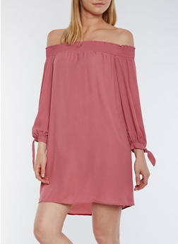 Off the Shoulder Smocked Dress with Tie Sleeves - 3410069392946