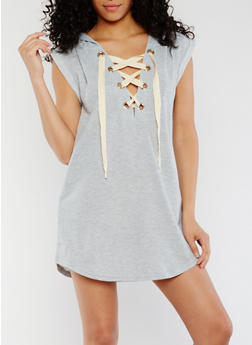 Lace Up Hooded Mini Dress - 3410069392947