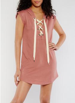 Lace Up Hooded Mini Dress - 3410069392947