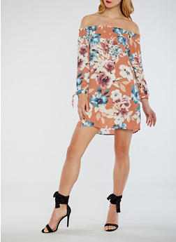 Off The Shoulder Floral Dress with Tie Sleeves - 3410069392949