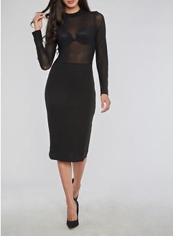 Crepe Knit Mesh Bodycon Dress - BLACK - 3410069392963