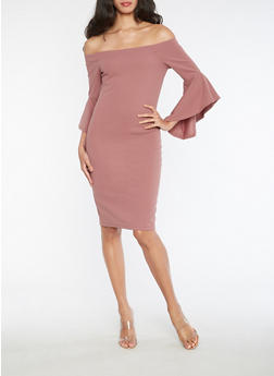 Textured Knit Off the Shoulder Dress with Bell Sleeves - 3410069393004