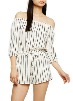 Off the Shoulder Striped Crepe Romper - 3410069393006