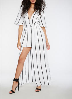 Striped Maxi Dress with Shorts - 3410069393047