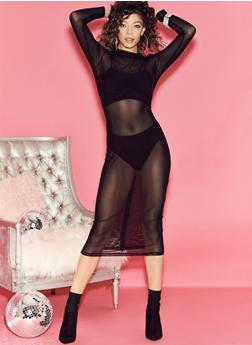 Mesh Long Sleeve Zip Back Dress - 3410069393113