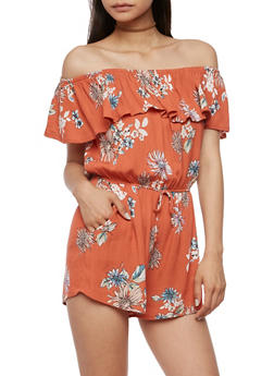 Off the Shoulder Floral Crinkle Romper - 3410069393118