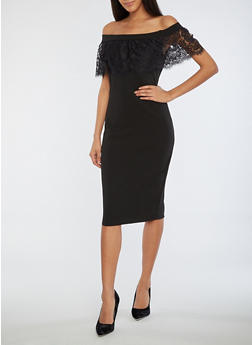 Off the Shoulder Dress with Lace Detail - 3410069393322