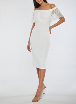 Off the Shoulder Dress with Lace Detail - OFF WHITE - 3410069393322