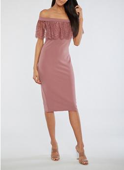 Off the Shoulder Dress with Lace Detail - MAUVE - 3410069393322
