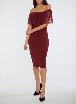 Off the Shoulder Dress with Lace Detail - BURGUNDY - 3410069393322