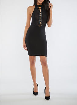 Mesh Lace Up Bodycon Dress - 3410069393333