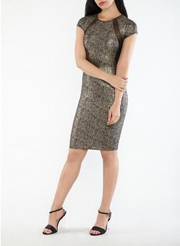 Mesh Trim Lurex Bodycon Midi Dress - 3410069393364