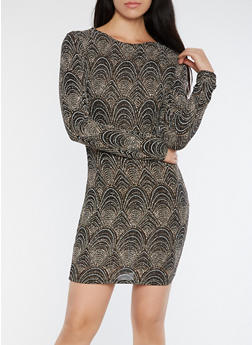 Glitter Knit Open Back Bodycon Dress - 3410069393432
