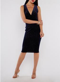 Velvet Glitter Bodycon Dress - 3410069393437
