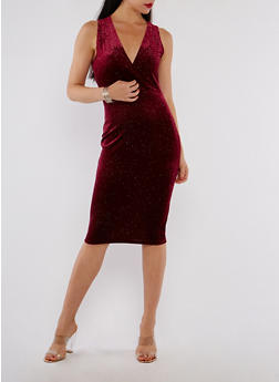 Velvet Glitter Bodycon Dress - 3410069393437