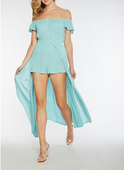 Gauze Knit Off the Shoulder Romper Maxi Dress - 3410069393445