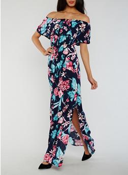 Off the Shoulder Floral Maxi Dress - 3410069393673