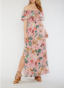 Off the Shoulder Floral Maxi Dress - 3410069393673