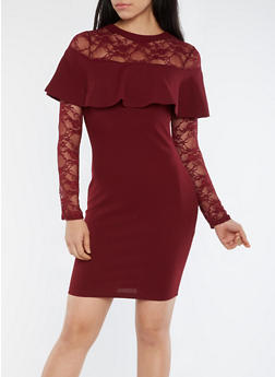 Lace Sleeve Ruffle Detail Bodycon Dress - 3410069394009