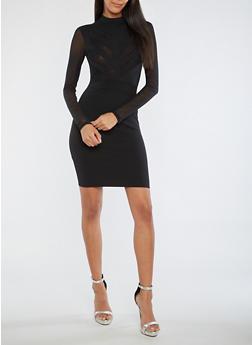 Crepe Knit Mesh Trim Bodycon Dress - BLACK - 3410069394422