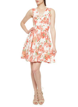 Textural A-Line Dress with Floral Print Throughout - 3410069395006