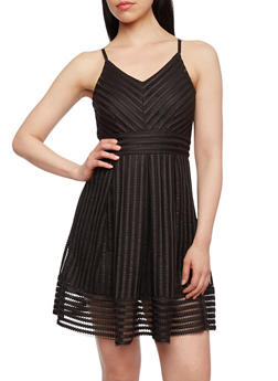A-Line Dress in Mesh Shadow Stripe Fabric - 3410069395020