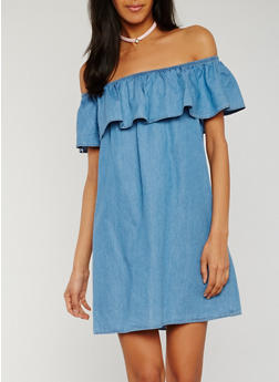 Off the Shoulder Denim Dress with Ruffle Overlay - 3410069396510