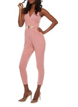 Sleeveless V Neck Jumpsuit with Metal Bar Waist - 3410069396559