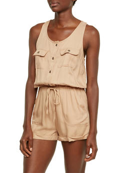 Sleeveless Romper with Chest Pockets - 3410069396590