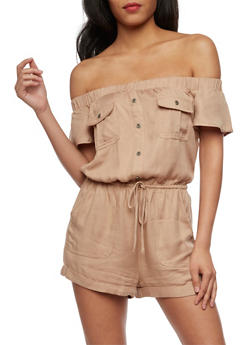 Off the Shoulder Button Front Romper - 3410069396781