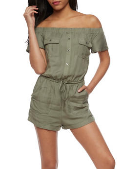 Off the Shoulder Button Front Romper - OLIVE - 3410069396781