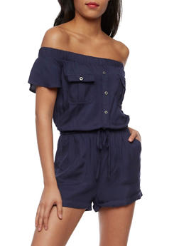 Off the Shoulder Button Front Romper - NAVY - 3410069396781