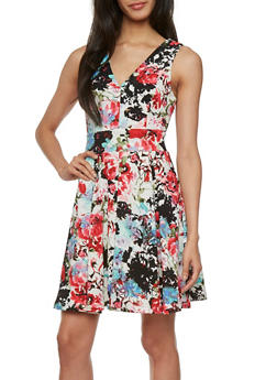 Textural A-Line Dress with Abstract Floral Print Throughout and V-Neck - 3410069396800