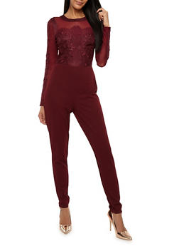 Mesh Jumpsuit with Lace Detail - 3410069396916