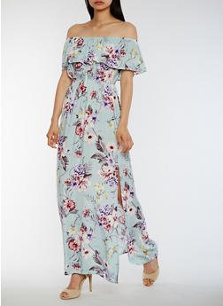 Off the Shoulder Floral Maxi Dress with Overlay - 3410069397310