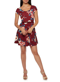 Floral Dress with Removable Faux Leather Belt - 3410069398420
