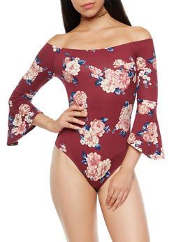 Off the Shoulder Bell Sleeve Floral Print Bodysuit - 3410069398814