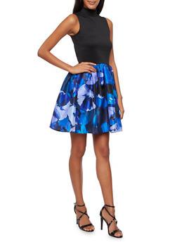 Sleeveless Dress with Floral Print Skirt - 3410069553202