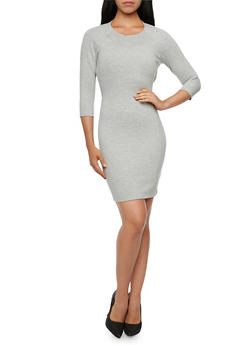 Mini Bodycon Dress with Strappy Open Back - 3410069553363