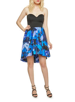 Strapless Dress with Floral High Low Skirt - 3410069554048