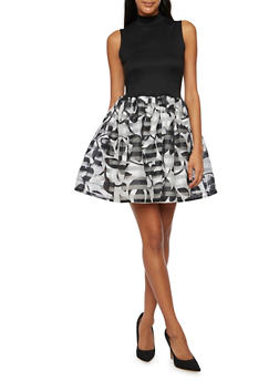 Sleeveless Knit Dress with Printed Skirt - 3410069555195