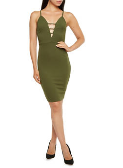Textural Bodycon Dress with Plunging V-Neck - 3410072241210