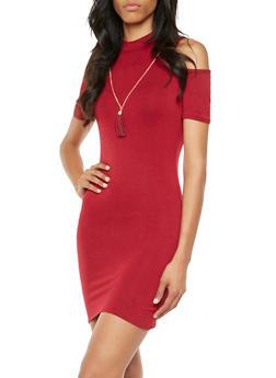 Cold-Shoulder Knit Dress with Necklace - 3410072241222