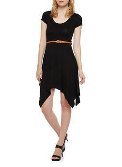 Belted Dress with Shark Bite Hem - 3410072241277