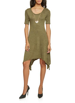 Marled Dress with Removable Necklace - OLIVE - 3410072241323