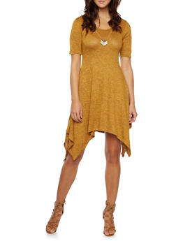 Marled Dress with Removable Necklace - MUSTARD - 3410072241323