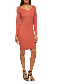 Knit Dress with Choker Collar - 3410072241324