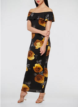 Floral Off the Shoulder Maxi Dress - 3410072241452